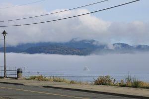 Bergen in de mist op Vacouver Island
