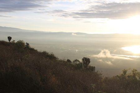 Uitzicht in de krater