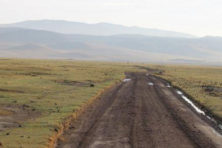 In de Ngorongoro krater zijn geen verharde wegen