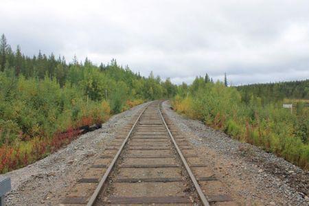 De witte palen over het treinspoor geven de poolcirkel aan