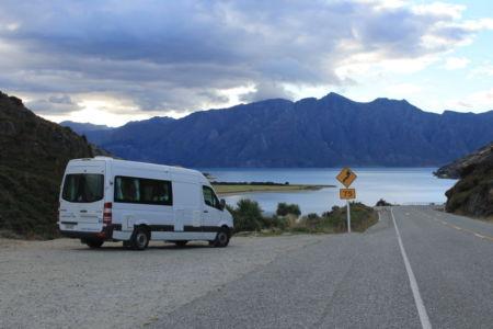 Camper Nieuw-Zeeland voor Lake Hawea