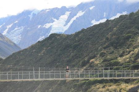 De laatste swingbridge in de Hooker Valley