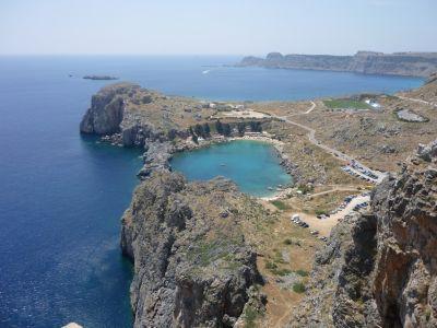 Uitzicht vanaf akropolis Lindos