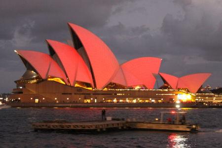 Rood gekleurde Opera House