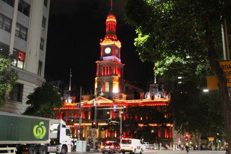 Rood gekleurde Townhall