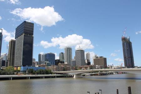 Skyline van Brisbane vanaf Southbank